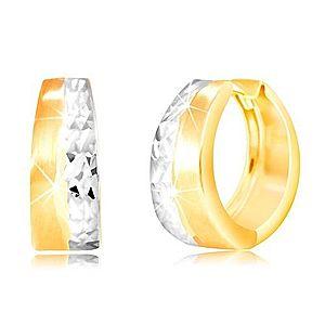 Okrúhle náušnice zo 14K zlata - matný pás žltej farby, brúsená línia z bieleho zlata GG217.31 vyobraziť