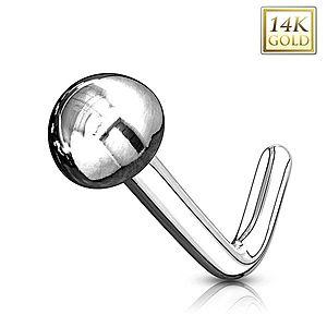 Zlatý 14K zahnutý piercing do nosa - lesklá hladká polgulička, biele zlato GG220.12 vyobraziť
