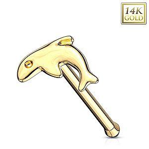 Rovný piercing do nosa v žltom zlate 585 - malý lesklý delfín GG220.01 vyobraziť