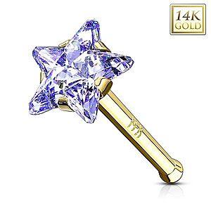 Rovný zlatý 585 piercing do nosa - zirkónová hviezda v modrofialovom odtieni GG221.22 vyobraziť