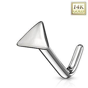 Zahnutý piercing do nosa z bieleho 14K zlata - lesklý trojuholník GG223.09 vyobraziť