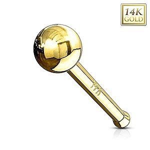Rovný zlatý 14K piercing do nosa - lesklá hladká gulička, žlté zlato GG220.15/221.02 vyobraziť