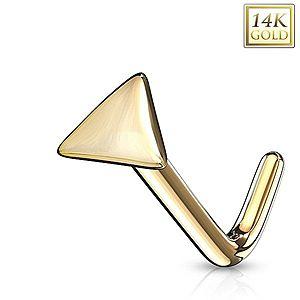 Zahnutý piercing do nosa zo žltého 14K zlata - lesklý trojuholník GG223.10 vyobraziť