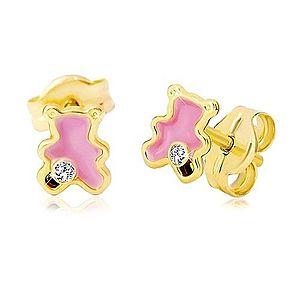Zlaté 14K náušnice, medvedík zdobený ružovou glazúrou a zirkónom GG20.18 vyobraziť
