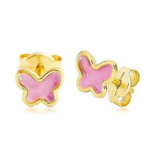 Náušnice zo žltého 14K zlata, motýlik s ružovou glazúrou, puzetky GG20.29 vyobraziť