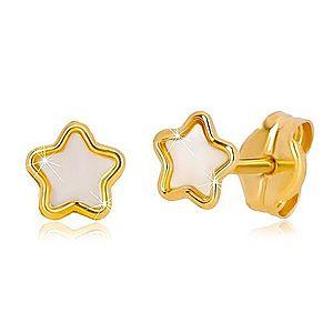 Puzetové 14K zlaté náušnice s motívom hviezdy s prírodnou perleťou GG36.19 vyobraziť