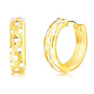 Okrúhle 14K náušnice z kombinovaného zlata, bodkované GG218.09 vyobraziť