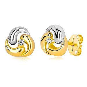 Puzetové náušnice zo zlata 585 - dvojfarebný kvet, tri zaoblené kvapky GG36.28 vyobraziť