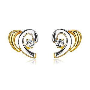 Náušnice z kombinovaného 14K zlata - rozpolené srdiečko so zirkónom GG36.27 vyobraziť