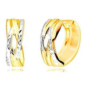 Okrúhle náušnice z kombinovaného zlata 585 - prepletaný vzor, úzky výrez GG218.45 vyobraziť