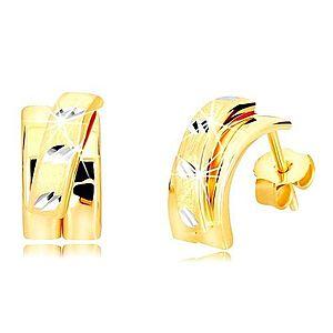 Náušnice z kombinovaného 14K zlata - širší oblúk s matným polkruhom, puzetky GG218.56 vyobraziť