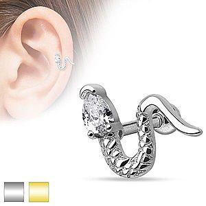 Piercing do ucha z chirurgickej ocele - zvlnený had s trojuholníkovým zirkónom W17.27/28 vyobraziť
