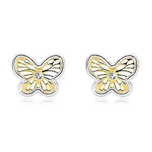 Náušnice z kombinovaného zlata 585 - ozdobne vyrezávaný motýlik so zirkónom GG19.20 vyobraziť