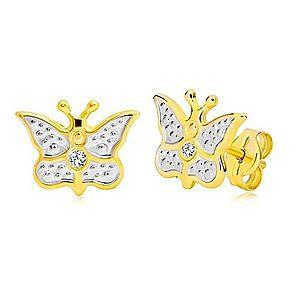 Puzetové náušnice z kombinovaného 14K zlata - vyrezávaný motýlik so zirkónom GG19.19 vyobraziť