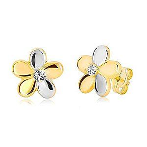 Náušnice z kombinovaného zlata 585 - lesklý dvojfarebný kvet, zirkón GG19.24 vyobraziť