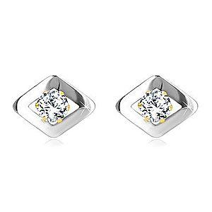 Náušnice z kombinovaného zlata 585 - kosoštvorec v bielom zlate a zirkón GG19.30 vyobraziť