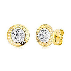 Náušnice z kombinovaného 14K zlata - dvojfarebný kruh so zirkónmi GG19.38 vyobraziť