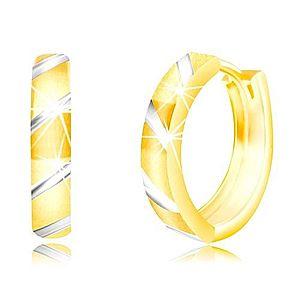Okrúhle náušnice z kombinovaného zlata 585 - šikmé pásy v bielom zlate GG219.09 vyobraziť