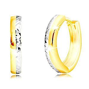 Náušnice z kombinovaného zlata 585 - úzky kruh s vybrúsenou polovicou GG219.07 vyobraziť