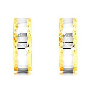 Náušnice zo 14K zlata - krúžky, pás v bielom zlate s plôškami, brúsené hrany GG219.17 vyobraziť