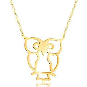 Náhrdelník zo žltého zlata 585 - sova symbol múdrosti, lesklá tenká retiazka GG219.36 vyobraziť