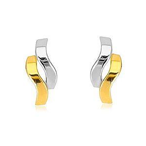 Náušnice z kombinovaného zlata 585 - lesklé dvojfarebné vlnky, puzetky GG37.12 vyobraziť