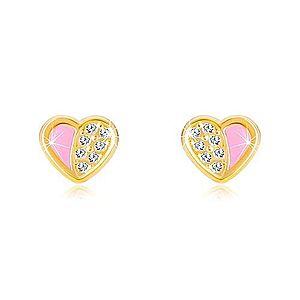 Náušnice zo 14K zlata - súmerné srdiečko vykladané zirkónmi, ružová glazúra GG37.31 vyobraziť