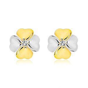 Briliantové náušnice z kombinovaného 14K zlata - symbol šťastia s diamantom BT504.27 vyobraziť