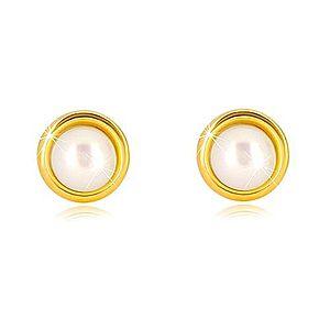 Zlaté náušnice 375 - sladkovodná perla bielej farby v okrúhlej objímke, puzetky GG39.32 vyobraziť