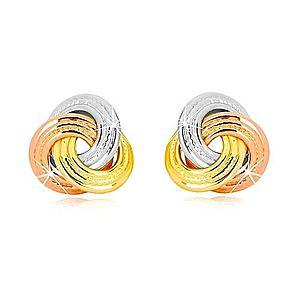 Náušnice z kombinovaného 14K zlata - trojfarebný uzol, širšie vrúbkované prstence GG42.12 vyobraziť