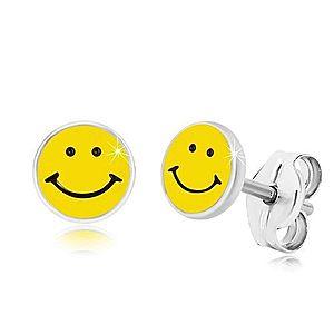 Náušnice zo striebra 925 - usmievavý smajlík, čierno-žltá glazúra, puzetky S42.30 vyobraziť