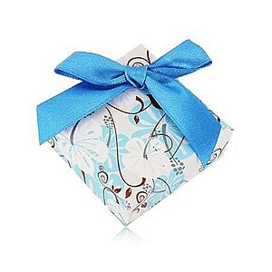 Darčeková krabička na prsteň alebo náušnice - ibištek, tmavomodrá mašlička Y05.03 vyobraziť