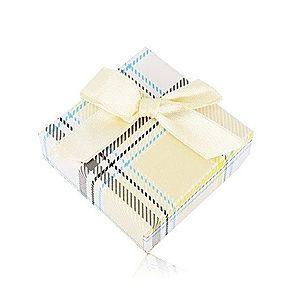 Darčeková krabička na prsteň alebo náušnice - žltý károvaný vzor, mašľa Y05.06 vyobraziť