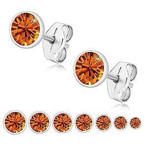 Strieborné 925 náušnice - žiarivý medovo oranžový zirkón v objímke, puzetky U29.07 vyobraziť