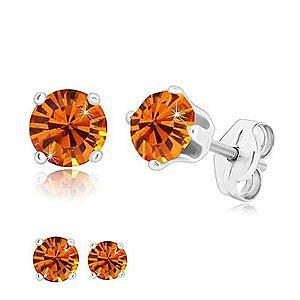 Strieborné náušnice 925 - okrúhly trblietavý zirkón v medovo oranžovom odtieni S48.22 vyobraziť