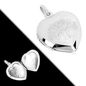 Medailón zo striebra 925 - súmerné srdce s jemným gravírovaním, strom života R38.14 vyobraziť