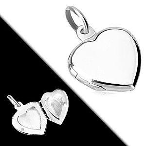 Strieborný prívesok 925 - plochý medailón, symetrické srdce s lesklým povrchom R38.16 vyobraziť