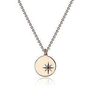 Strieborný 925 náhrdelník ružovozlatej farby - lesklý kruh, severná hviezda, čierny diamant S62.01 vyobraziť