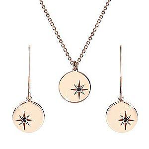 Strieborný set 925 ružovozlatej farby - náhrdelník a náušnice, kruh s Polárkou, čierny diamant S22.31 vyobraziť