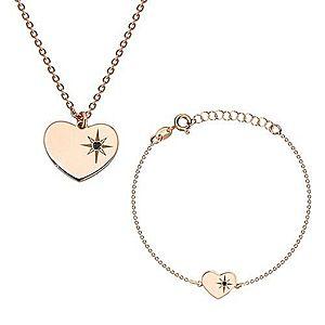 Strieborný 925 set ružovozlatej farby - náramok a náhrdelník, srdce s Polárkou a diamantom S25.15 vyobraziť