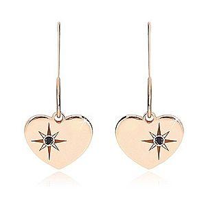 Čierny diamant - strieborné náušnice 925, súmerné srdce ružovozlatej farby, severná hviezda S25.25 vyobraziť
