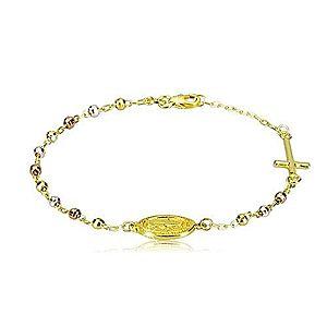 Náramok zlatej farby zo striebra 925 - trojfarebné guličky, medailón a kríž R17.08 vyobraziť
