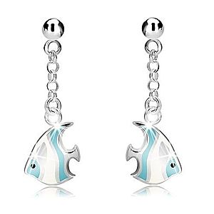 Strieborné náušnice 925 - guľôčka a bielo-modrá morská ryba na retiazke, puzetky R10.16 vyobraziť