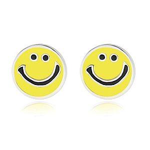 Strieborné náušnice 925 - usmievavý smajlík zdobený žltou glazúrou, puzetky AB11.10 vyobraziť