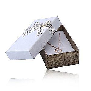 Darčeková krabička s mašľou na set alebo náhrdelník - bielo-hnedá kombinácia Y16.11 vyobraziť