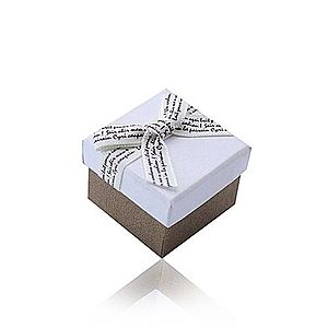 Bielo-hnedá darčeková krabička na prsteň alebo náušnice - krémová mašlička s hnedým písmom Y17.02 vyobraziť