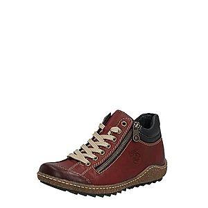 RIEKER Šnurovacie topánky čierna / vínovo červená vyobraziť