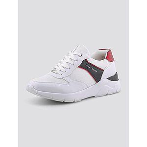 TOM TAILOR Nízke tenisky čierna / červená / biela vyobraziť