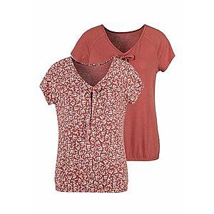 LASCANA Tričko hrdzavo červená / biela vyobraziť