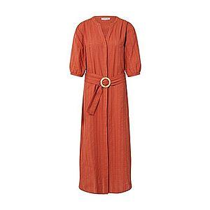 EDITED Košeľové šaty 'Tinna' hrdzavo červená / červené vyobraziť
